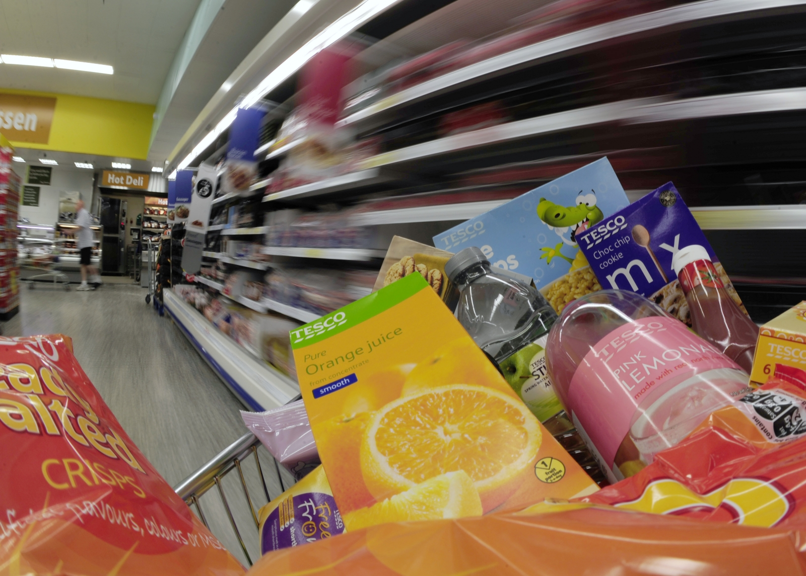 trolley of goods are pictured at Tesco's in Leeds, northern England,June 25, 2010.
