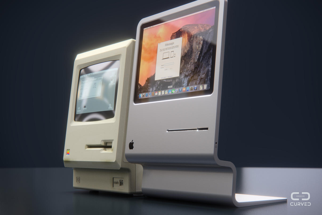 The original Macintosh from 1984, together with the cute modern design concept by CURVE/labs