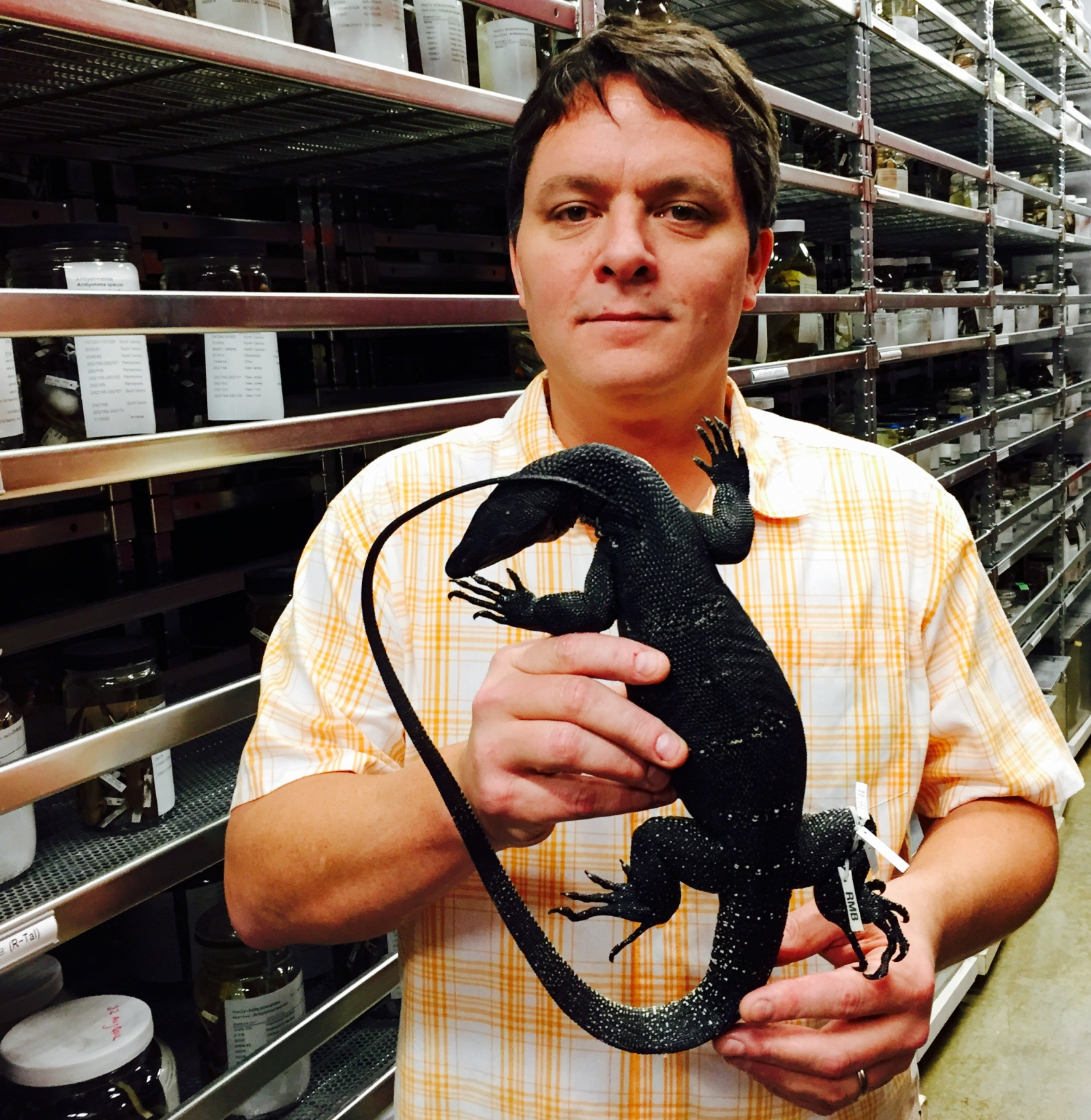 Rafe Brown holds the Holotype