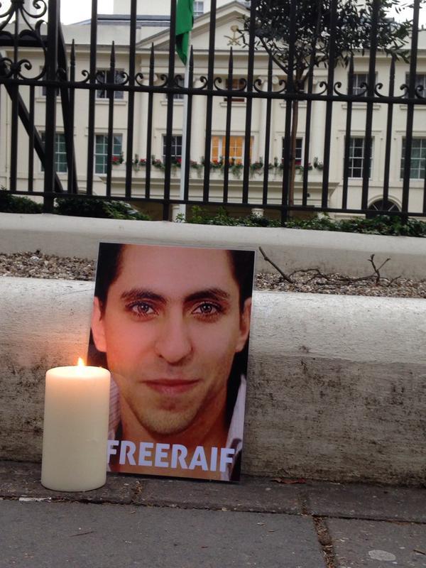 Raid Badawi protest London Saudi Arabia embassy