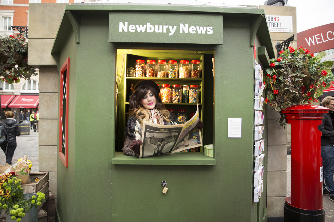 The first Vodafone store opened in Newbury and a news kiosk doubles as a tribute