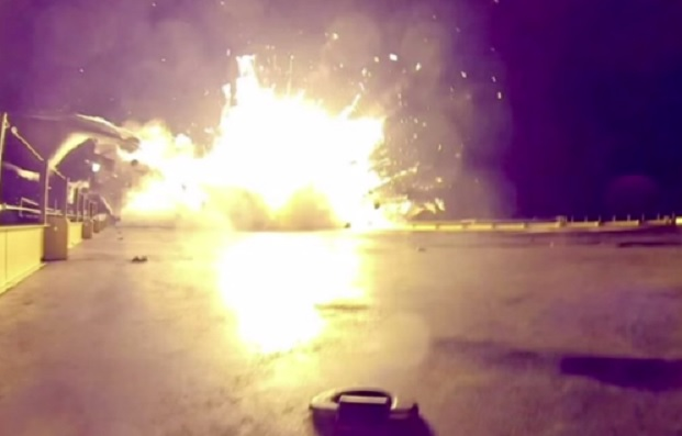 A huge SpaceX rocket exploded in flames during attempt to land it on barge