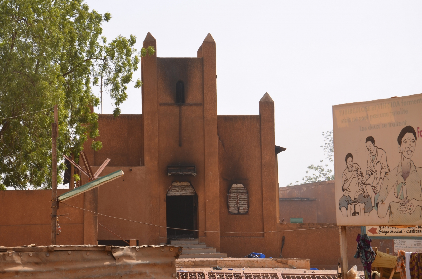 Churches have been torched by angry demonstrators in Niger