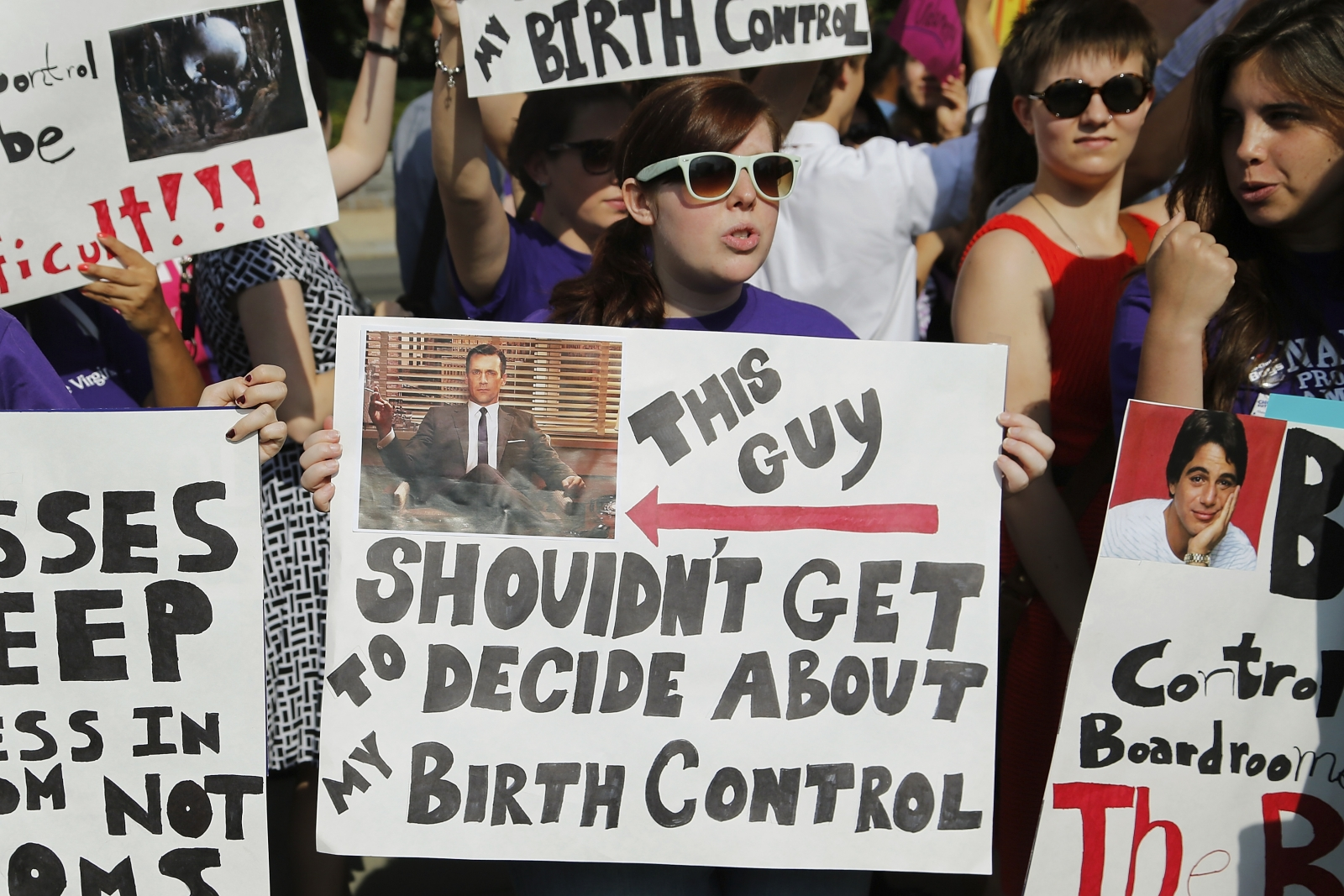 Pro-abortion and birth control protesters demonstrate outside the U.S. Supreme Court in Washington