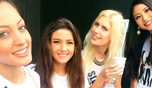 The offending selfie, with Miss Israel on the far-left, and Miss Lebanon in the centre. (screenshot)