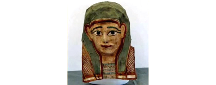 A papyrus fragment taken from this ancient Egyptian mummy mask could well be the oldest copy of a gospel known to exist