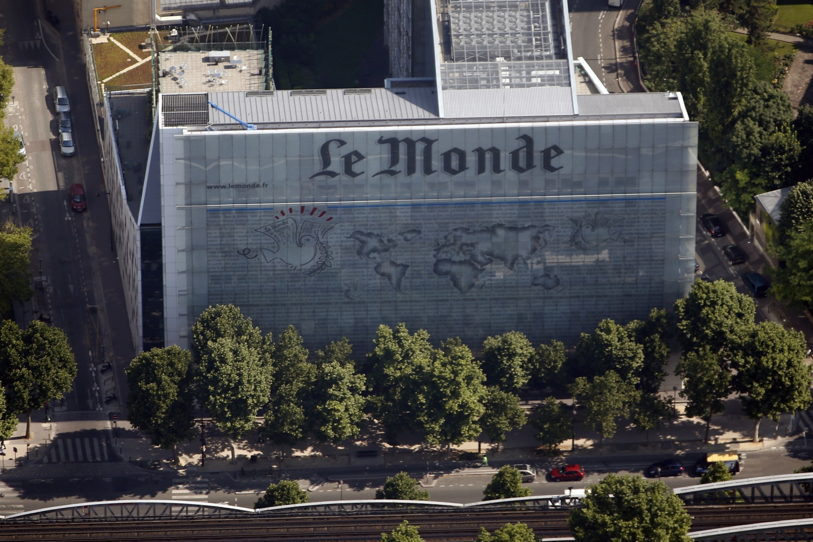 An aerial view shows the facade of the French daily evening newspaper Le Monde offices in Paris