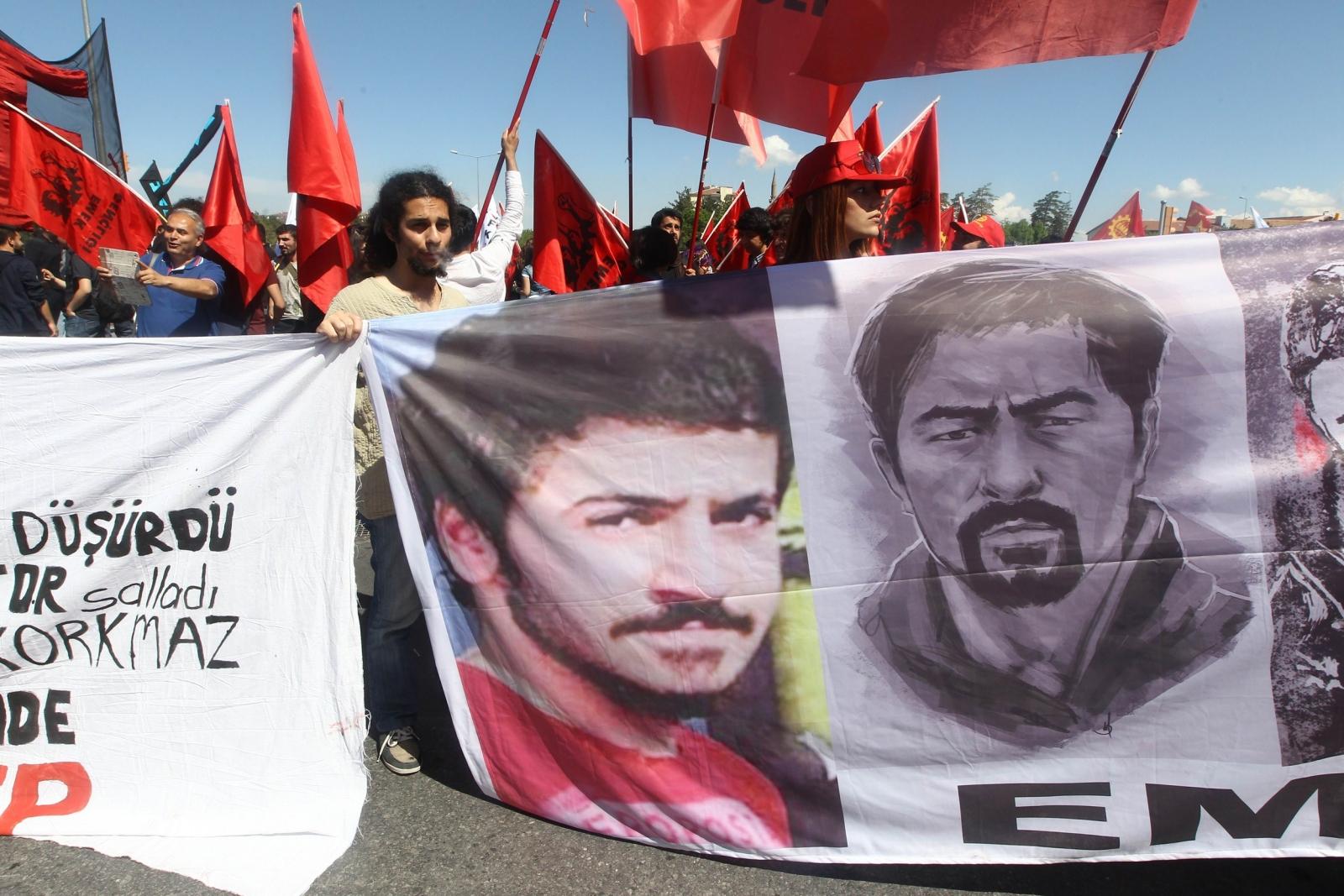 People take part in a demonstration in Kayseri