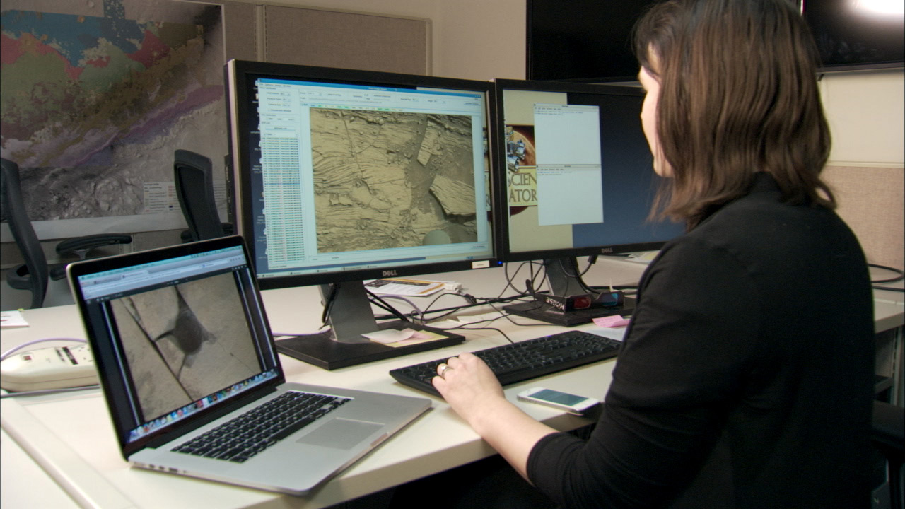 At the moment, scientists like Katie Stack Morgan (pictured) examine Mars using images captured by the rover