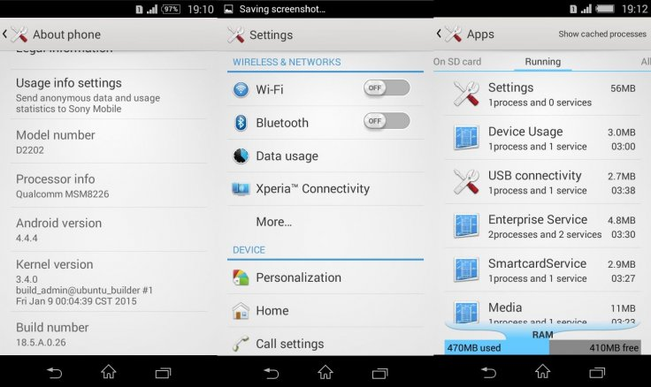 Android 4 4 4 firmware build 18 5 A 0 26 available for Xperia E3