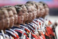 School children in North Korea parade with guns in Kim Il-sung Square, Pyongyang