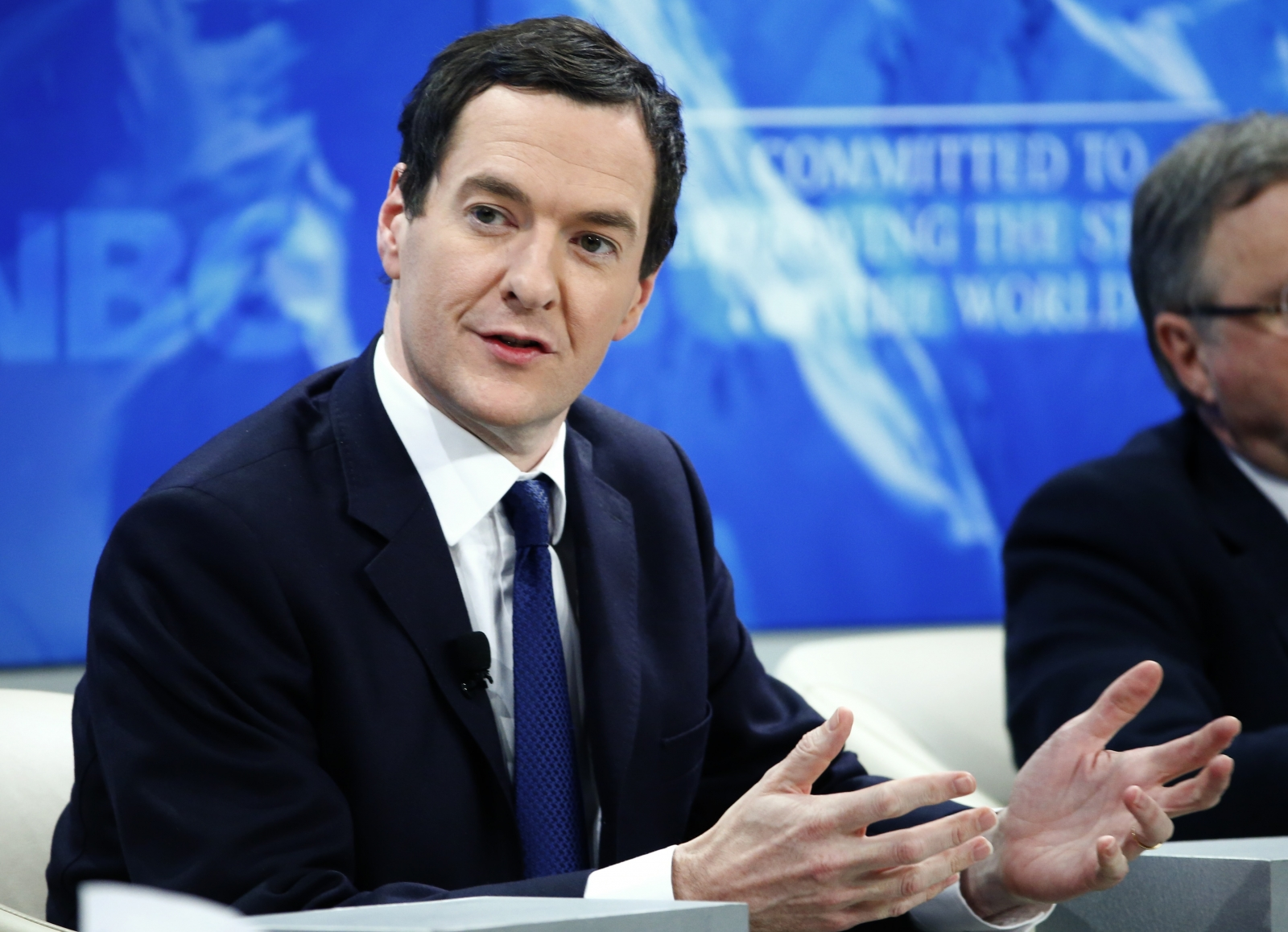 British Chancellor of the Exchequer George Osborne speaks at the session 'Recharging Europe' in the Swiss mountain resort of Davos January 23, 2015