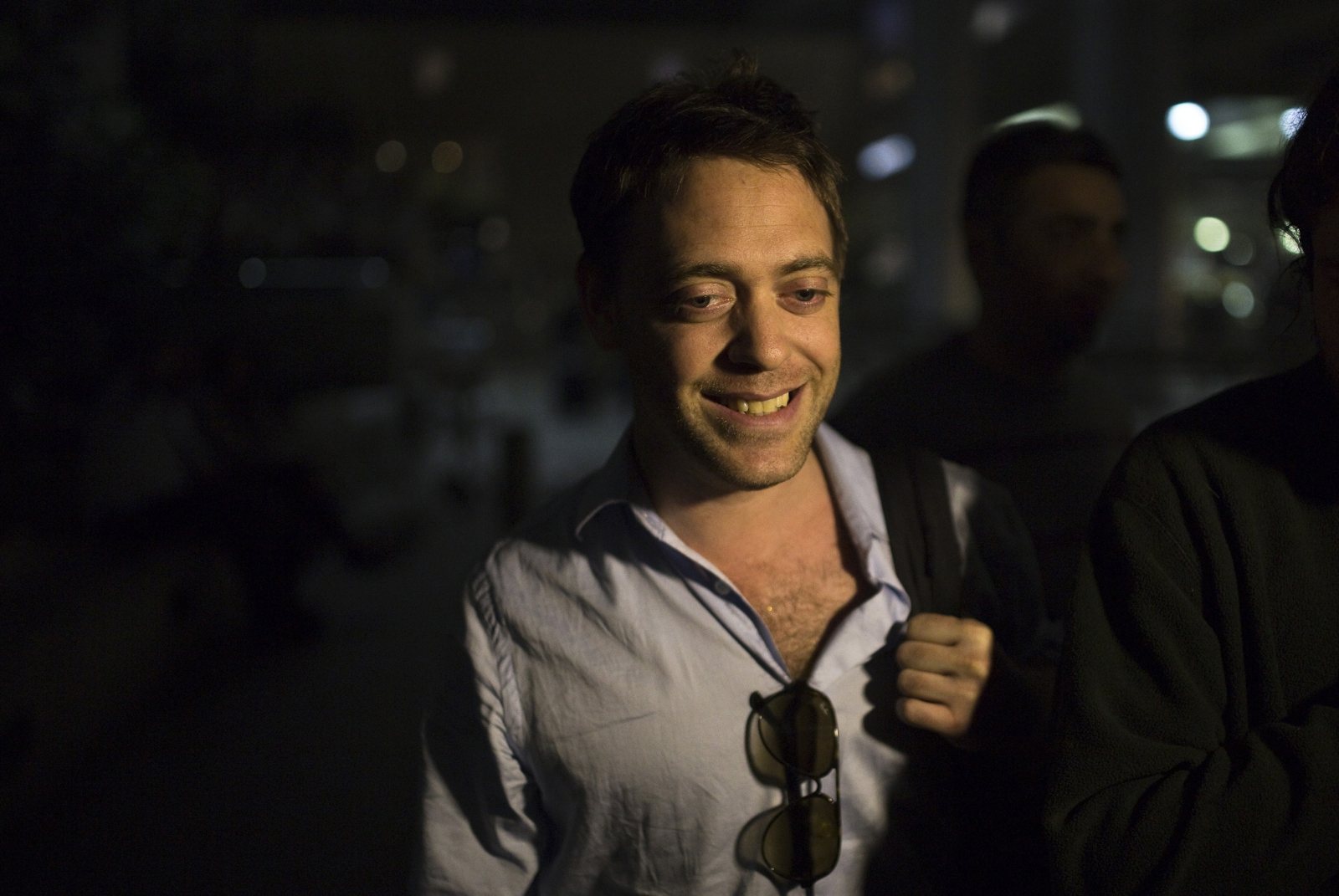 Damian Pachter, a journalist with the Buenos Aires Herald, is seen after landing at Ben Gurion International Airport near Tel Aviv