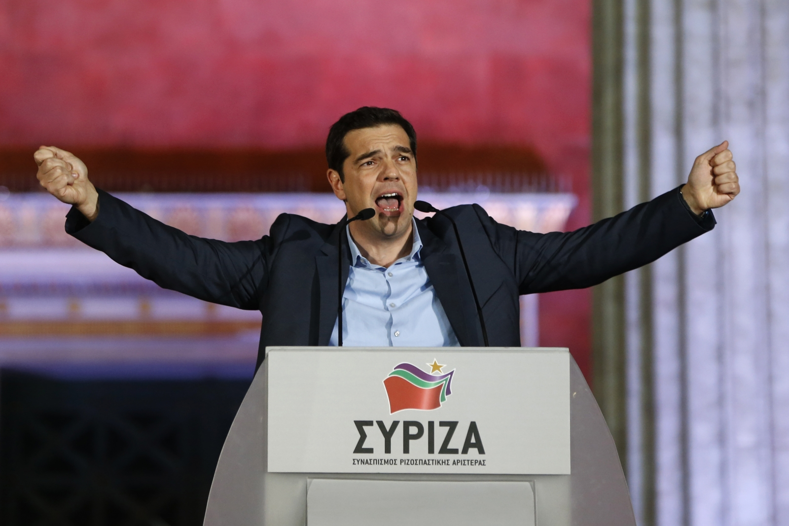The head of radical leftist Syriza party Alexis Tsipras speaks to supporters after winning the elections in Athens