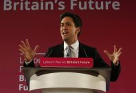 Britain\'s opposition Labour Party leader Ed Miliband gestures as launches his party\'s 2015 election campaign, at the Lowry Theatre in Salford, north west England January 5, 2015.