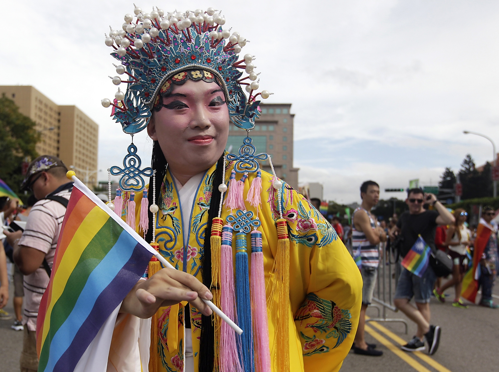 A man dressed in a Chinese opera costume takes part in the Taiwan LGBT Pride Parade