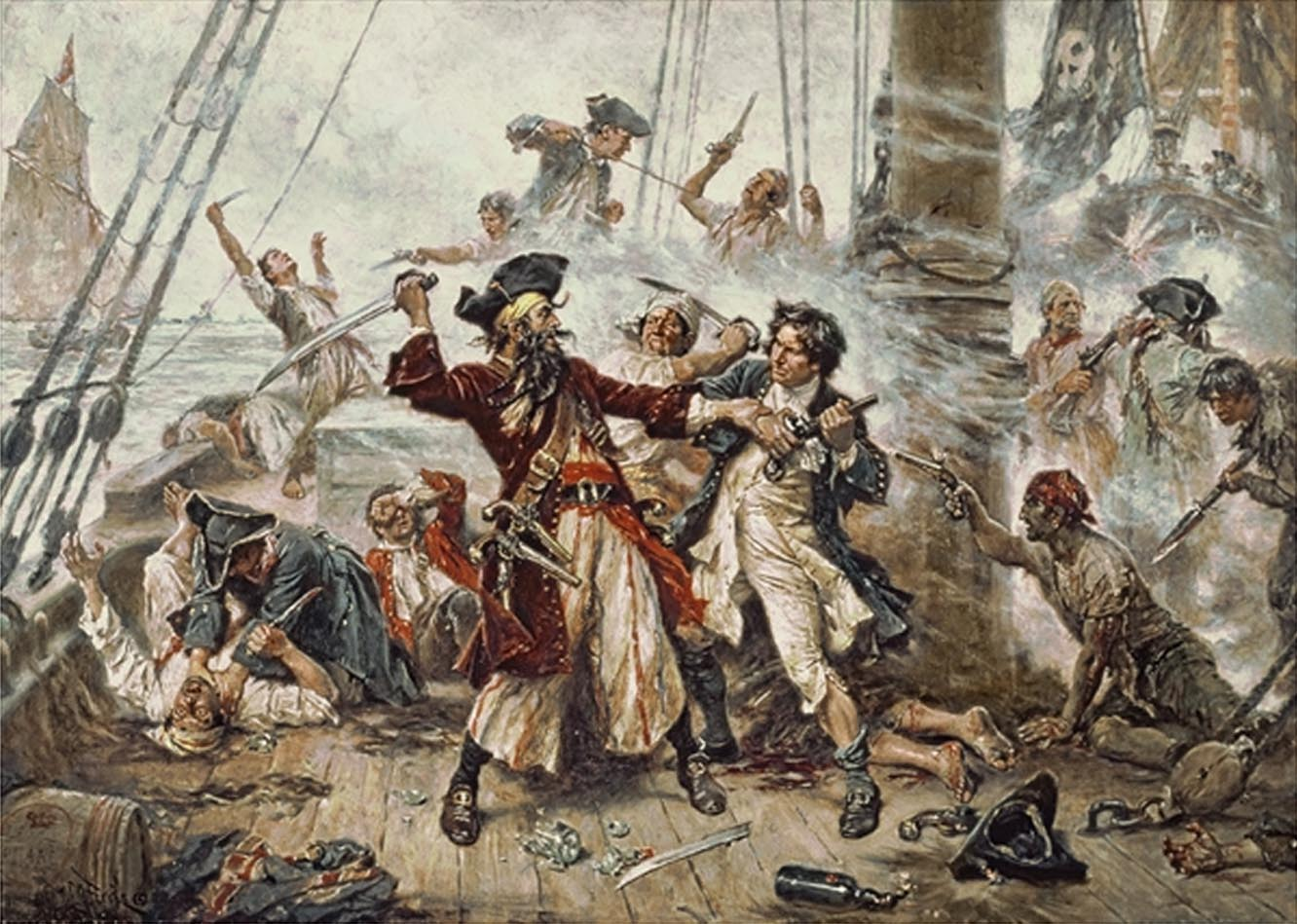 The Capture of Blackbeard 1718, depicting the battle between Blackbeard the Pirate and Lieutenant Maynard in Ocracoke Bay