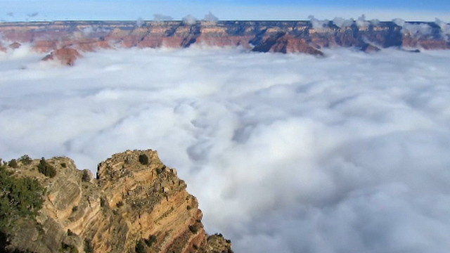 Time lapse video captures Grand Canyon cloud inversion