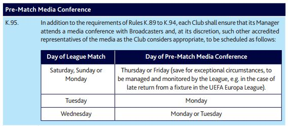 Premier League rule K.95