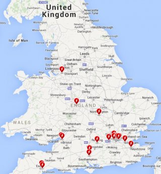 UK Tesla Supercharger network map
