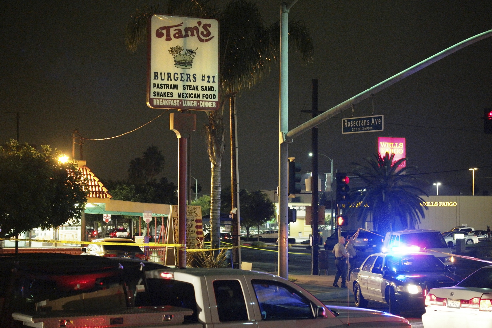 The scene of Thursday's hit and run in Compton, LA (Reuters)