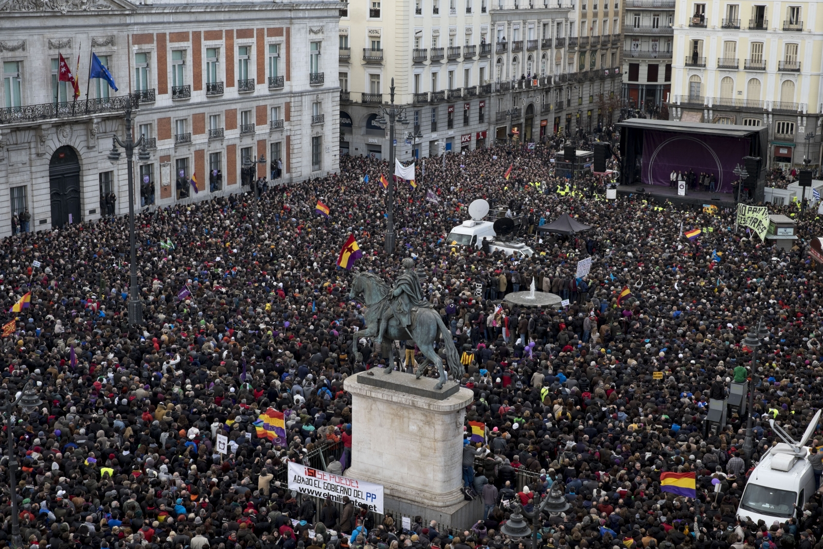Thousands gather in Madrid for today's Podemos rally. (Getty)