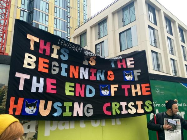 March for Homes protest banner London 2015