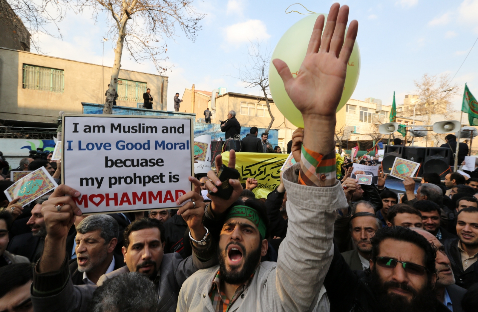 Protesters in Tehran demonstrate outside the French embassy in response to a front page cartoon deicting the prophet Mohammed published by satirical magazine Charlie Hebdo. (Getty)