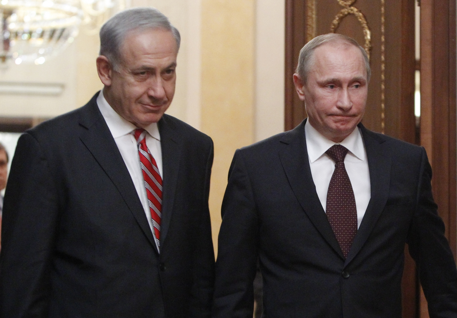 Israel\'s prime minister Binyamin Netanyahu and Russian president Vladimir Putin. Neither of their countries faired well in a poll of Uk attitudes to foreign countries (Getty)