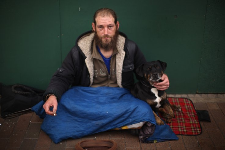 Homeless man Ray ( no second name given) begs for loose change on the High Street of West Bromwich