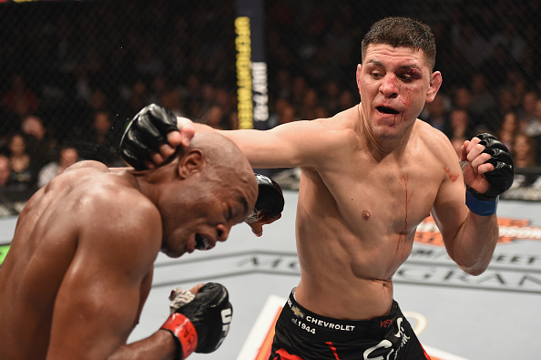 Nick Diaz punches Anderson Silva