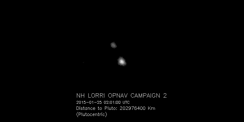 Pluto and its moon Charon have been magnified four times to increase visibility.