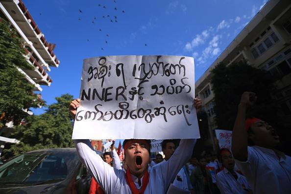 Myanmar students protest
