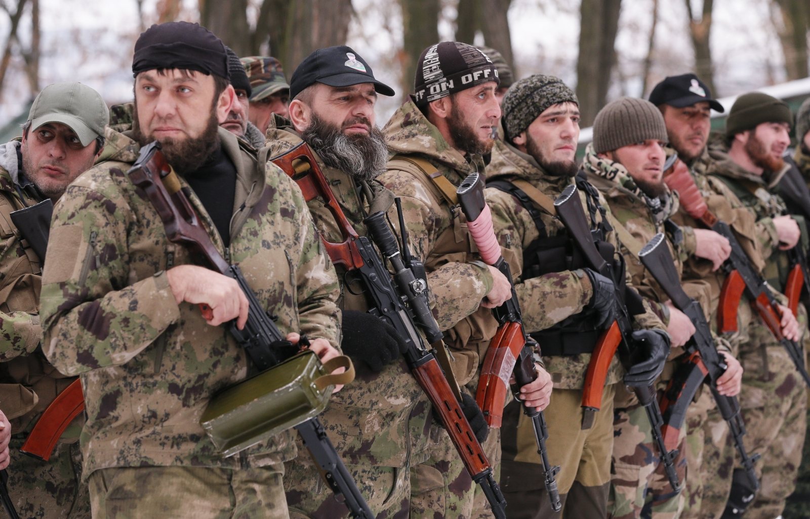 Pro-Russian separatists from the Chechen