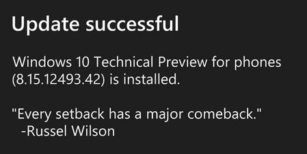 Windows 10 for phones Technical Preview build 8.15.12493.42
