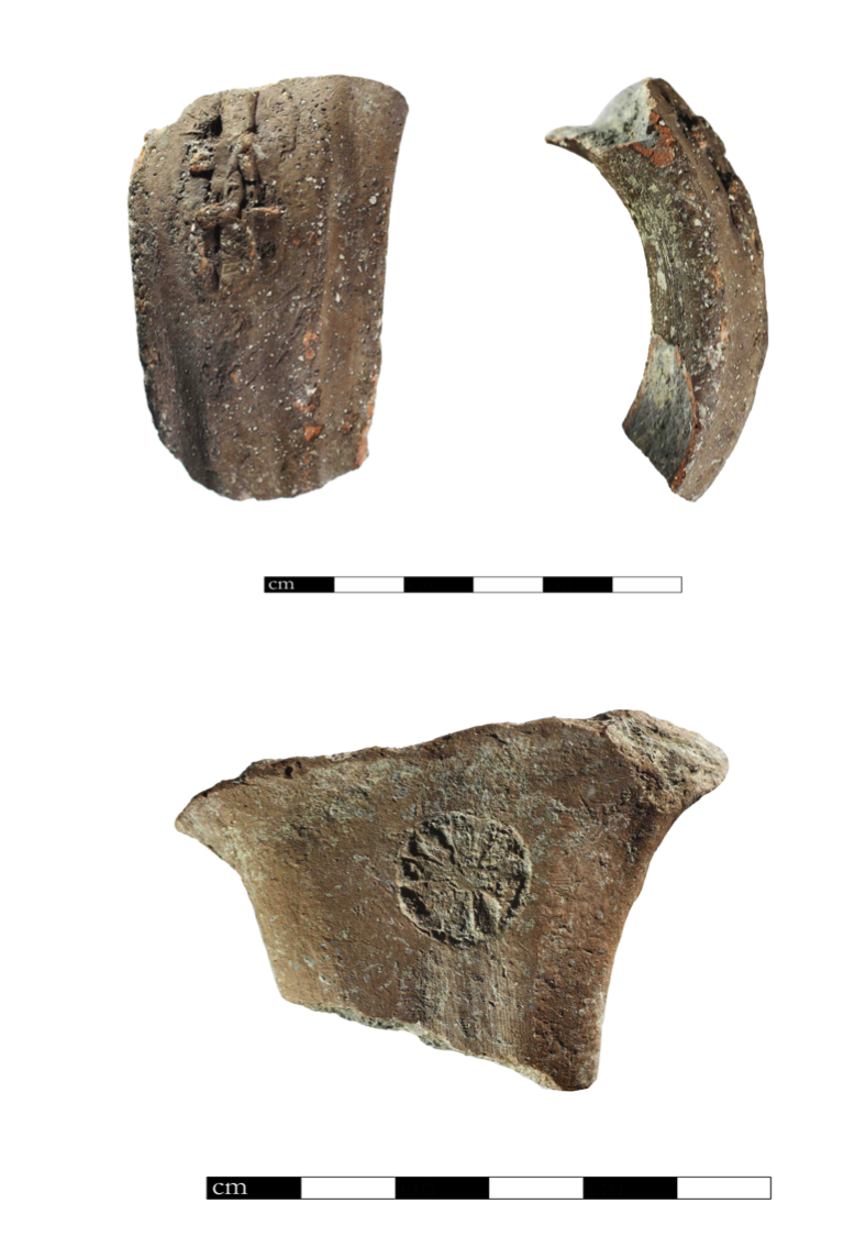 Top: A four-winged LMLK on a pottery handle. Bottom: A rosette stamped into another piece of pottery
