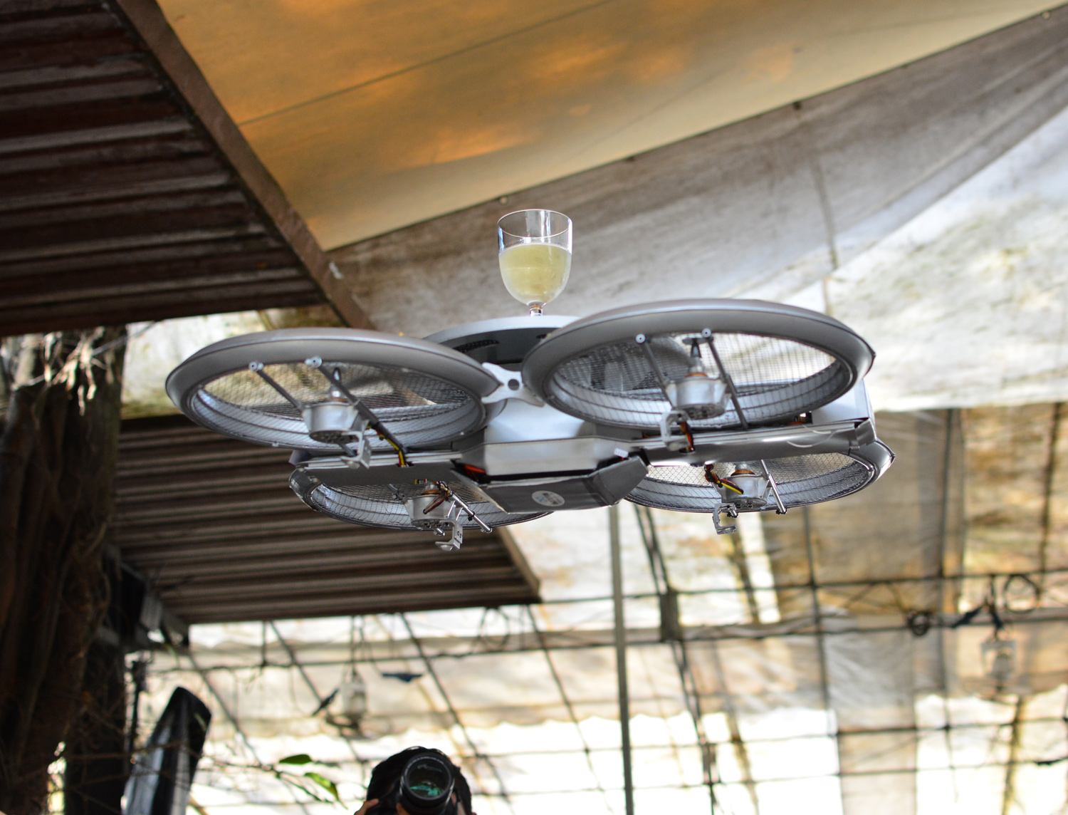 Drone waiters deliver food and drink in Singapore