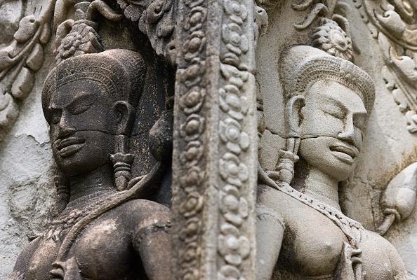 Devatas, or guardian spirits, engraved in a Hindu temple in Angkor
