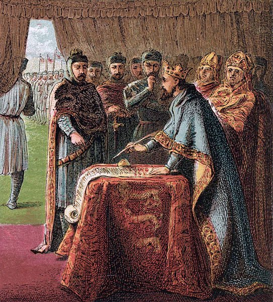 King John signs the Magna Carta.
