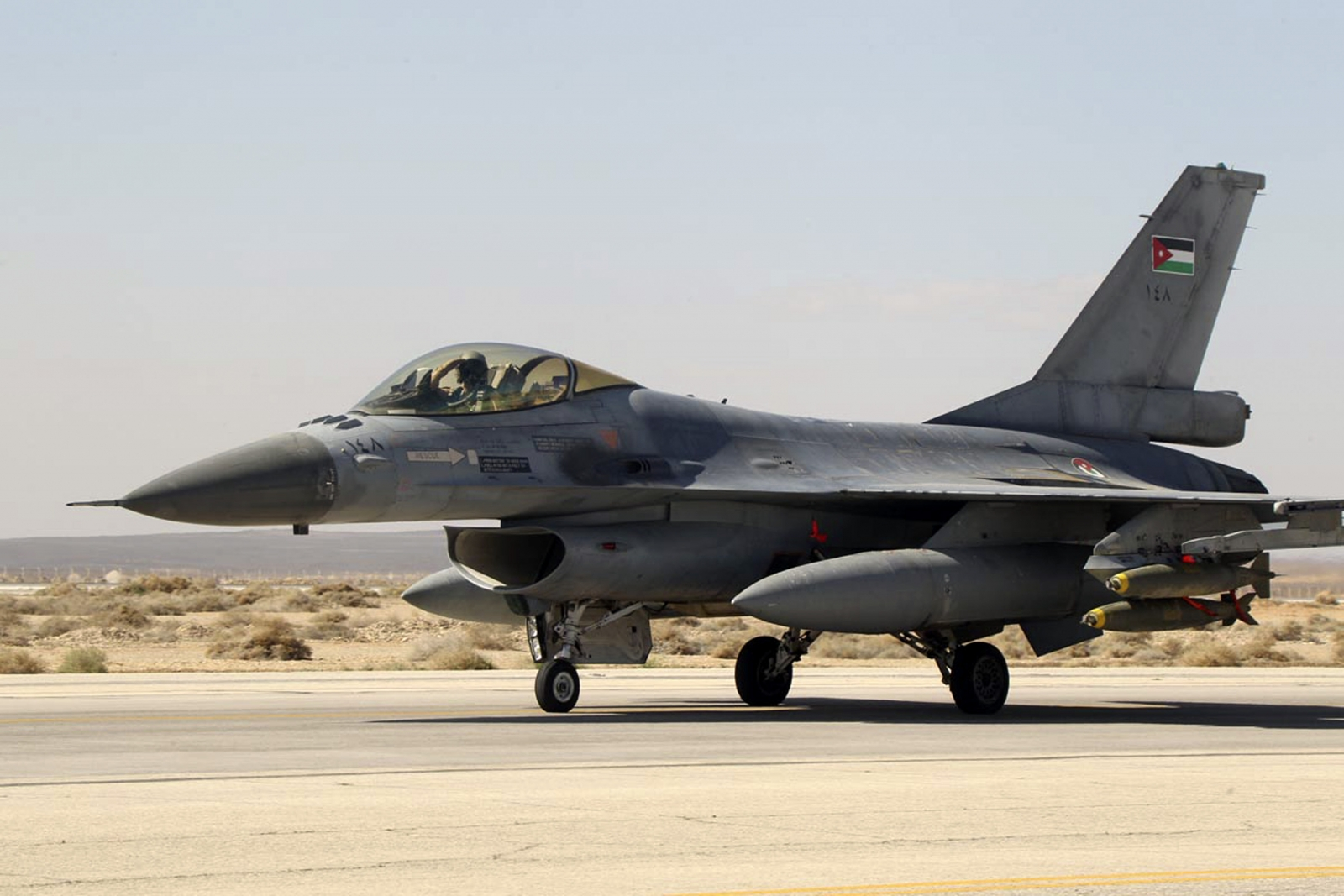 A Royal Jordanian Air Force plane takes off from an air base to strike the Islamic state in the Syrian city of Raqq