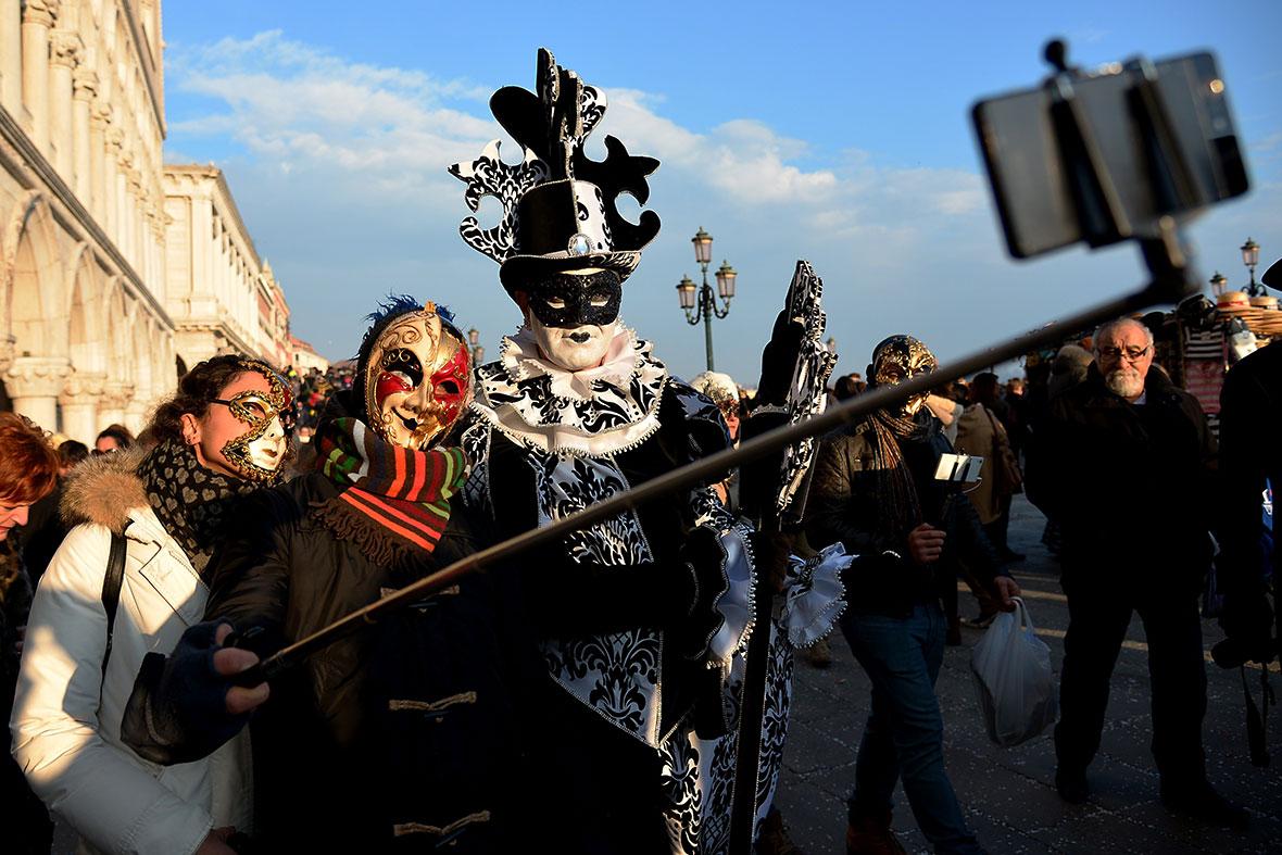 venice carnival 2015 selfie stick