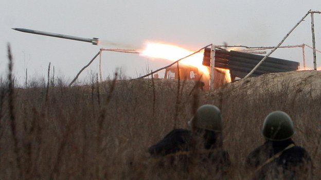 Video shows pro-Russian rebel forces firing Grad rocket launchers
