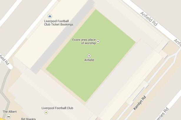 Anfield on Google Maps
