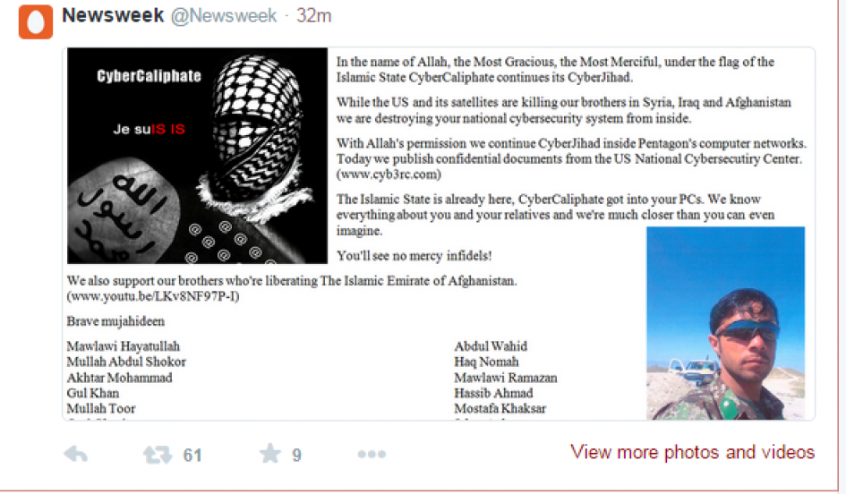 During the hack, the @Newsweek account's profile picture and banner were swapped to images of a masked man and the Black Standard flag