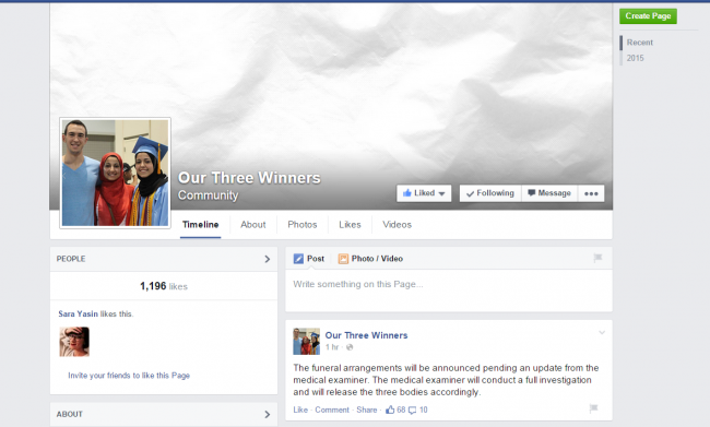 Facebook page Chapel Hill Shooting