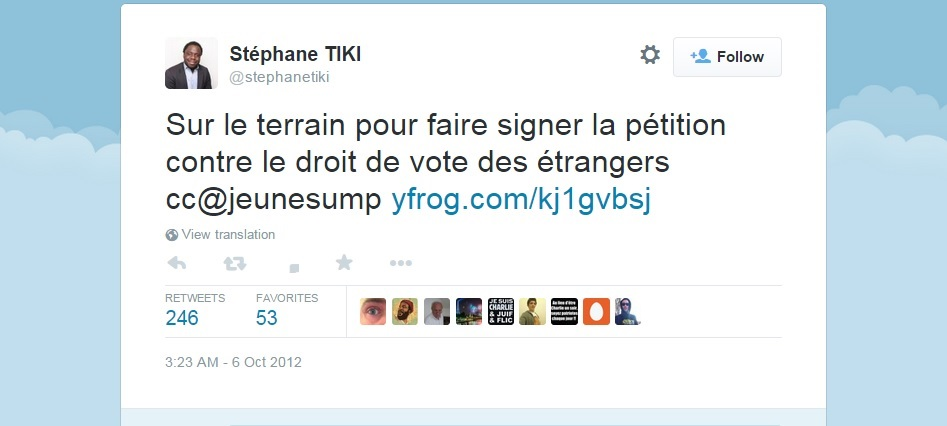 Stephane Tiki UMP Nicholas Sarkozy illegal immigration