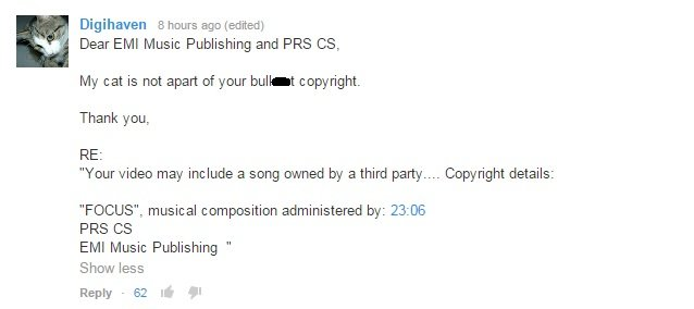 cat purring youtube copyright