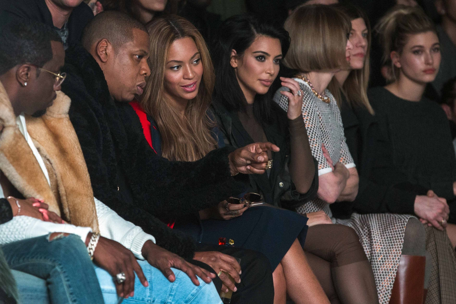 Kim K, Jay-Z and P. Diddy watch as Kanye West unveils Yeezy clothing line