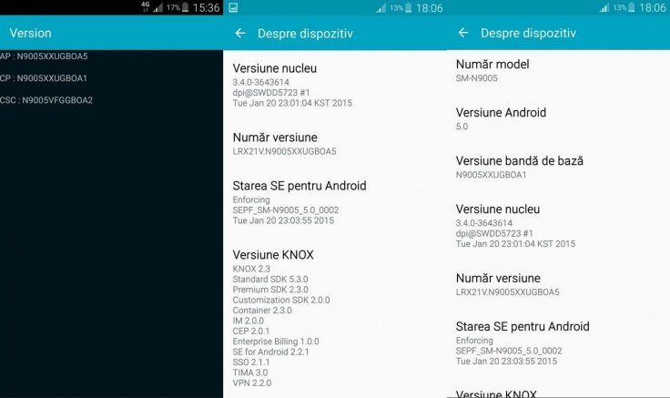 Galaxy Note 3 LTE (N9005) and Note 4 Snapdragon 805 (N910F