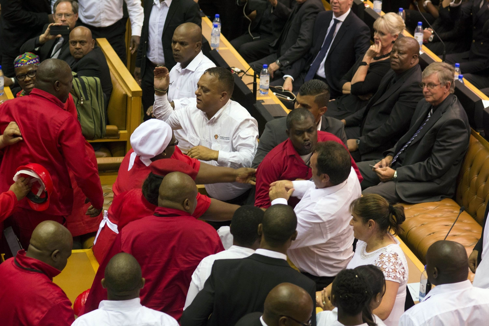 Julius Malema party members clash with officials in South Africa parliament